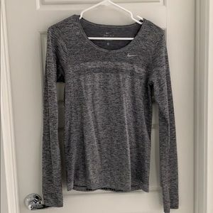 Nike Grey Long Sleeve Running Top - Size S